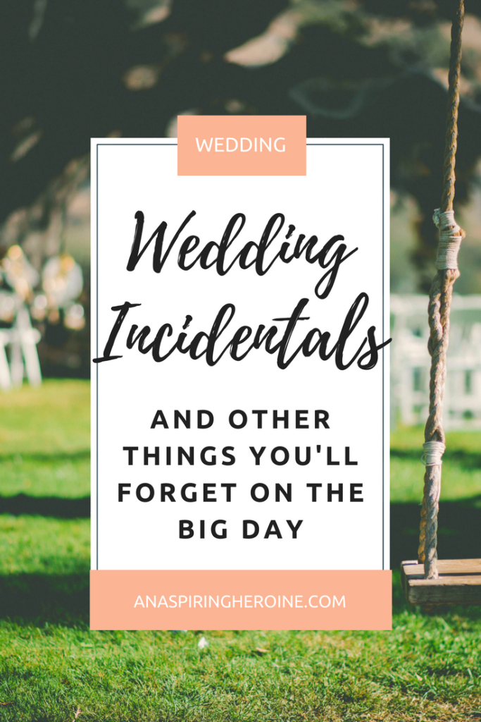 Let's be honest. There are a million things that could go wrong on your wedding day, but if you pack a couple of these incidentals in your day-of bag, you'll be good to go! | An Aspiring Heroine