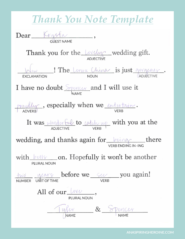 writing personalized wedding thank you notes an aspiring heroine a writing and lifestyle blog. Black Bedroom Furniture Sets. Home Design Ideas
